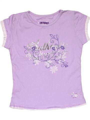 Short sleeve T-shirt girl CHEROKEE pink 10 years summer #28103_1