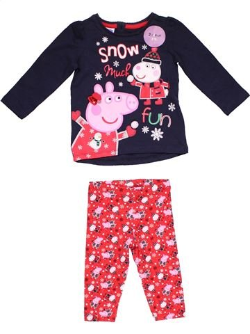 2 pieces Pyjama girl PEPPA PIG pink 9 months winter #28371_1
